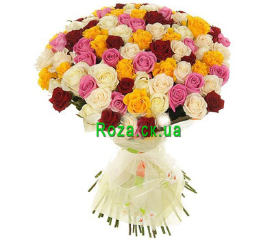 """Bouquet of multicolored roses in Cherkassy"" in the online flower shop roza.ck.ua"
