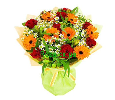 """Bouquet of roses and gerberas"" in the online flower shop roza.ck.ua"