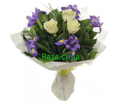 """Bouquet of roses and irises"" in the online flower shop roza.ck.ua"