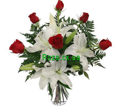 """Bouquet of roses and lilies"" in the online flower shop roza.ck.ua"