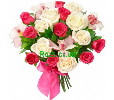 """Bouquet of roses and orchids"" in the online flower shop roza.ck.ua"