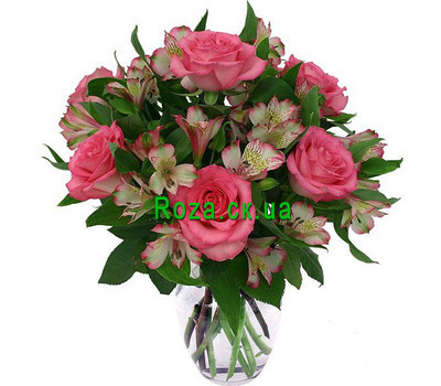 """Bouquet of pink roses and alstroemerias"" in the online flower shop roza.ck.ua"