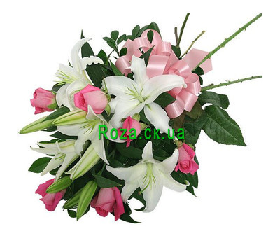 """Bouquet of pink roses and lilies"" in the online flower shop roza.ck.ua"