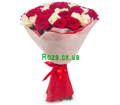 """Bouquet of red and white roses"" in the online flower shop roza.ck.ua"