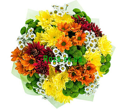 """""""Bouquet of multicolored chrysanthemums"""" in the online flower shop roza.ck.ua"""