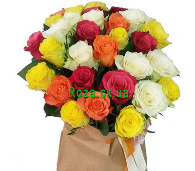 """Bouquet of mixed colored roses"" in the online flower shop roza.ck.ua"