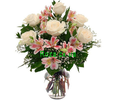 """Bouquet of roses and alstromeries"" in the online flower shop roza.ck.ua"