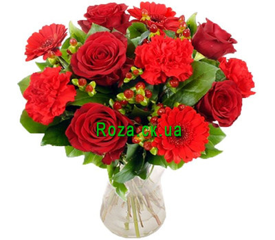 """Bouquet of roses and carnations"" in the online flower shop roza.ck.ua"