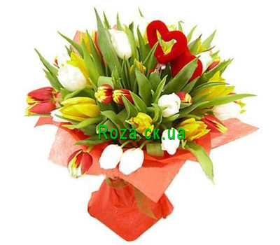 """Bouquet of tulips with heart"" in the online flower shop roza.ck.ua"
