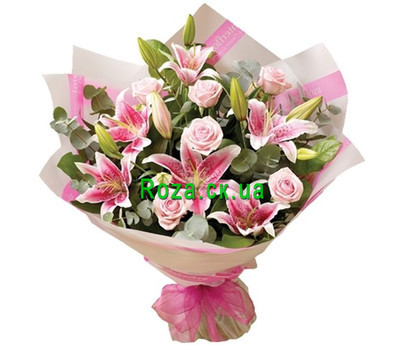 """Bouquet in pink tones with lily"" in the online flower shop roza.ck.ua"