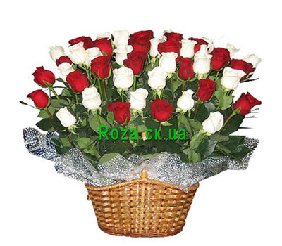 """Basket of roses in Cherkassy"" in the online flower shop roza.ck.ua"