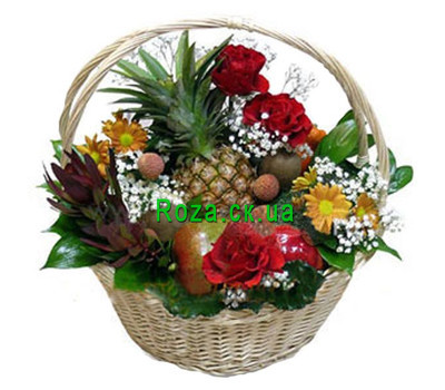 """Basket with fruits and flowers"" in the online flower shop roza.ck.ua"