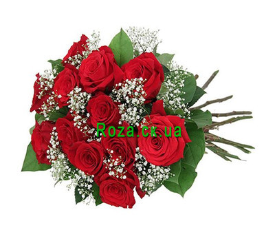 """Red roses with gypsophila"" in the online flower shop roza.ck.ua"