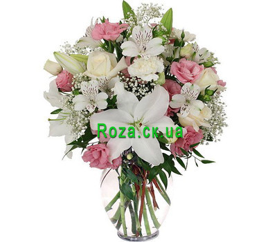 """Mixed bouquet in soft colors"" in the online flower shop roza.ck.ua"