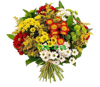 """Multicolored bouquet of chrysanthemums"" in the online flower shop roza.ck.ua"