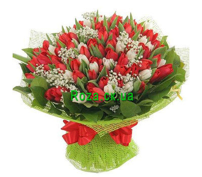 """A huge bouquet of tulips in Cherkassy"" in the online flower shop roza.ck.ua"