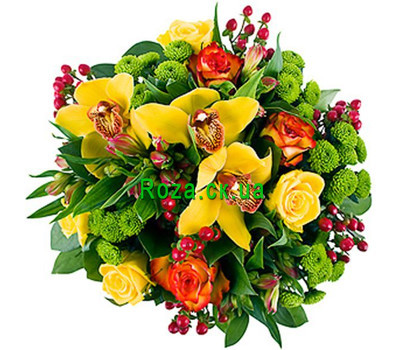 """Original bouquet with orchids"" in the online flower shop roza.ck.ua"