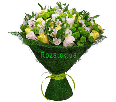 """A strict bouquet of roses, alstromeries and chrysanthemums"" in the online flower shop roza.ck.ua"