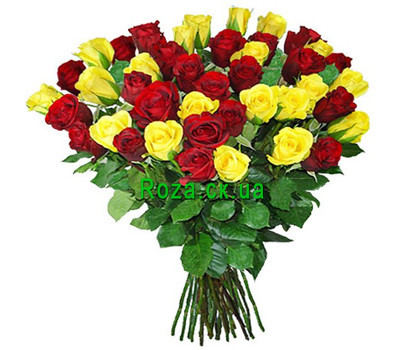 """Bright bouquet of red and yellow roses"" in the online flower shop roza.ck.ua"