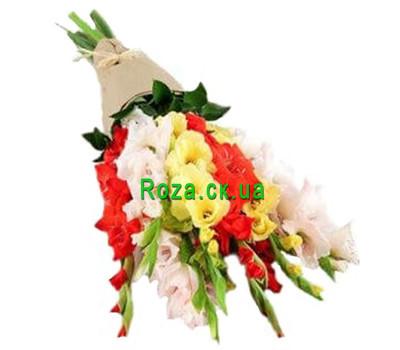 """Gladiolus bouquet in kraft paper"" in the online flower shop roza.ck.ua"