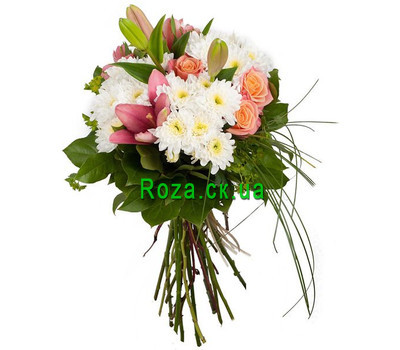 """Bouquet of lilies, roses and chrysanthemums"" in the online flower shop roza.ck.ua"