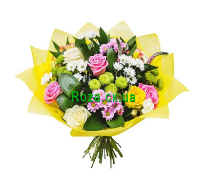 """Bouquet of roses, chrysanthemums and alstromorias"" in the online flower shop roza.ck.ua"