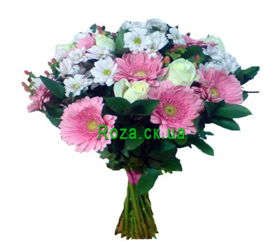 """Bouquet of roses, chrysanthemums and gerberas"" in the online flower shop roza.ck.ua"