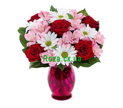 """Maid's bouquet of roses, alstromeries and chrysanthemums"" in the online flower shop roza.ck.ua"