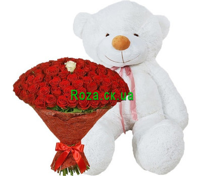 """101 rose and teddy bear 2 meters"" in the online flower shop roza.ck.ua"