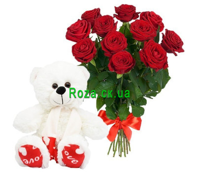 """11 red roses and white Teddy bear"" in the online flower shop roza.ck.ua"