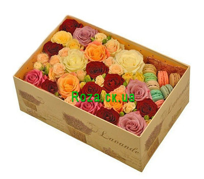 """Large box of roses with macarons"" in the online flower shop roza.ck.ua"