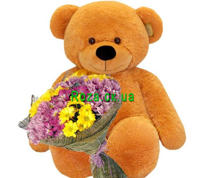 """Brown big Bear with chrysanthemums"" in the online flower shop roza.ck.ua"