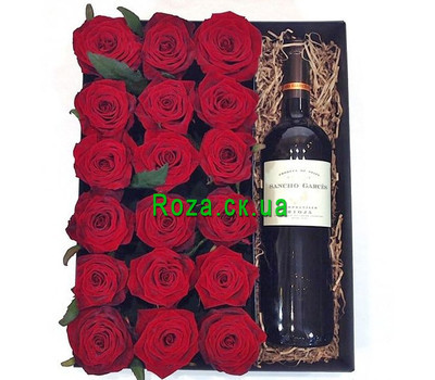 """Red roses and wine in a box"" in the online flower shop roza.ck.ua"
