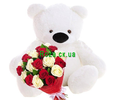 """Big teddy bear and a bouquet of roses"" in the online flower shop roza.ck.ua"