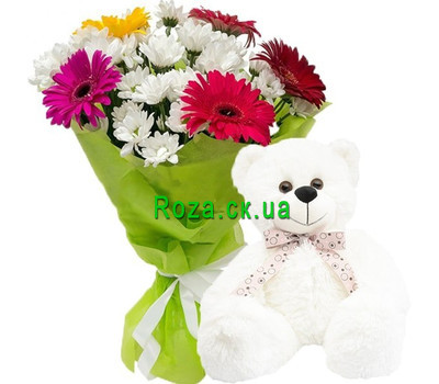 """Teddy bear with flowers"" in the online flower shop roza.ck.ua"