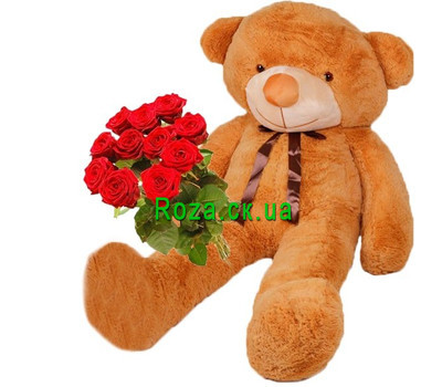 """""""Huge Teddy bear and roses"""" in the online flower shop roza.ck.ua"""