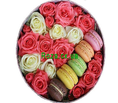 """Roses and macarons in a round box"" in the online flower shop roza.ck.ua"