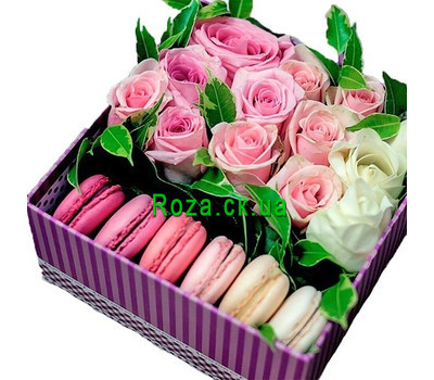 """Roses with macarons in a square box"" in the online flower shop roza.ck.ua"