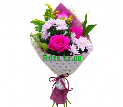 """Mini bouquet of roses and chrysanthemums"" in the online flower shop roza.ck.ua"