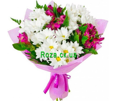 """Charming bouquet of chrysanthemums and alstromeries"" in the online flower shop roza.ck.ua"