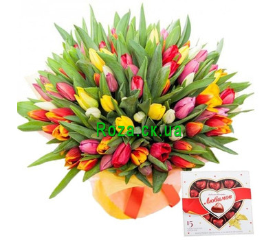 """101 tulip and candy"" in the online flower shop roza.ck.ua"