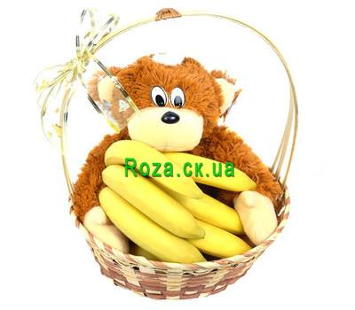 """""""Корзина с бананами и обезьянкой"""" в интернет-магазине цветов roza.ck.ua"""