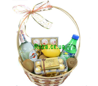 """Корзина с мартини и спрайтом"" в интернет-магазине цветов roza.ck.ua"