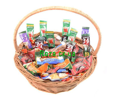 """""""Gift basket of sweets and coffee"""" in the online flower shop roza.ck.ua"""