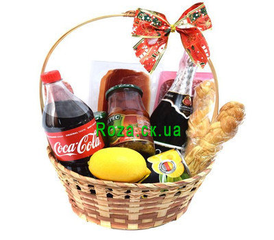 """""""Festive basket of champagne products"""" in the online flower shop roza.ck.ua"""