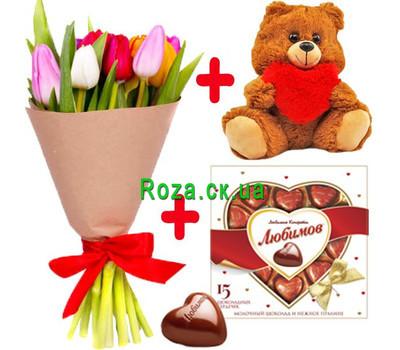 """""""11 тюльпанов, Мишка и конфеты"""" в интернет-магазине цветов roza.ck.ua"""