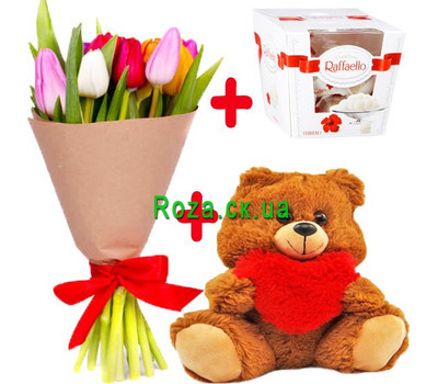 """""""11 тюльпанов с Raffaello и Мишкой"""" в интернет-магазине цветов roza.ck.ua"""