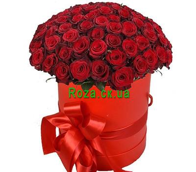 """""""75 красных роз в шляпной коробке"""" в интернет-магазине цветов roza.ck.ua"""