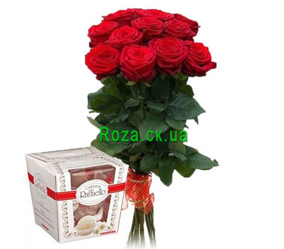 """11 roses and rafaello"" in the online flower shop roza.ck.ua"
