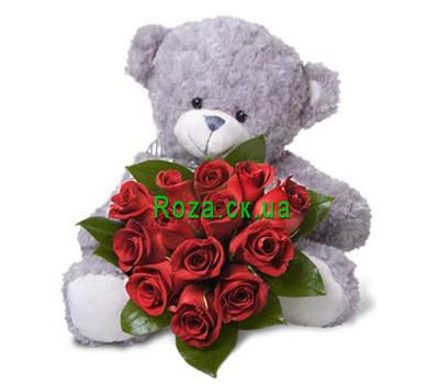 """""""13 красных роз и мишка"""" в интернет-магазине цветов roza.ck.ua"""